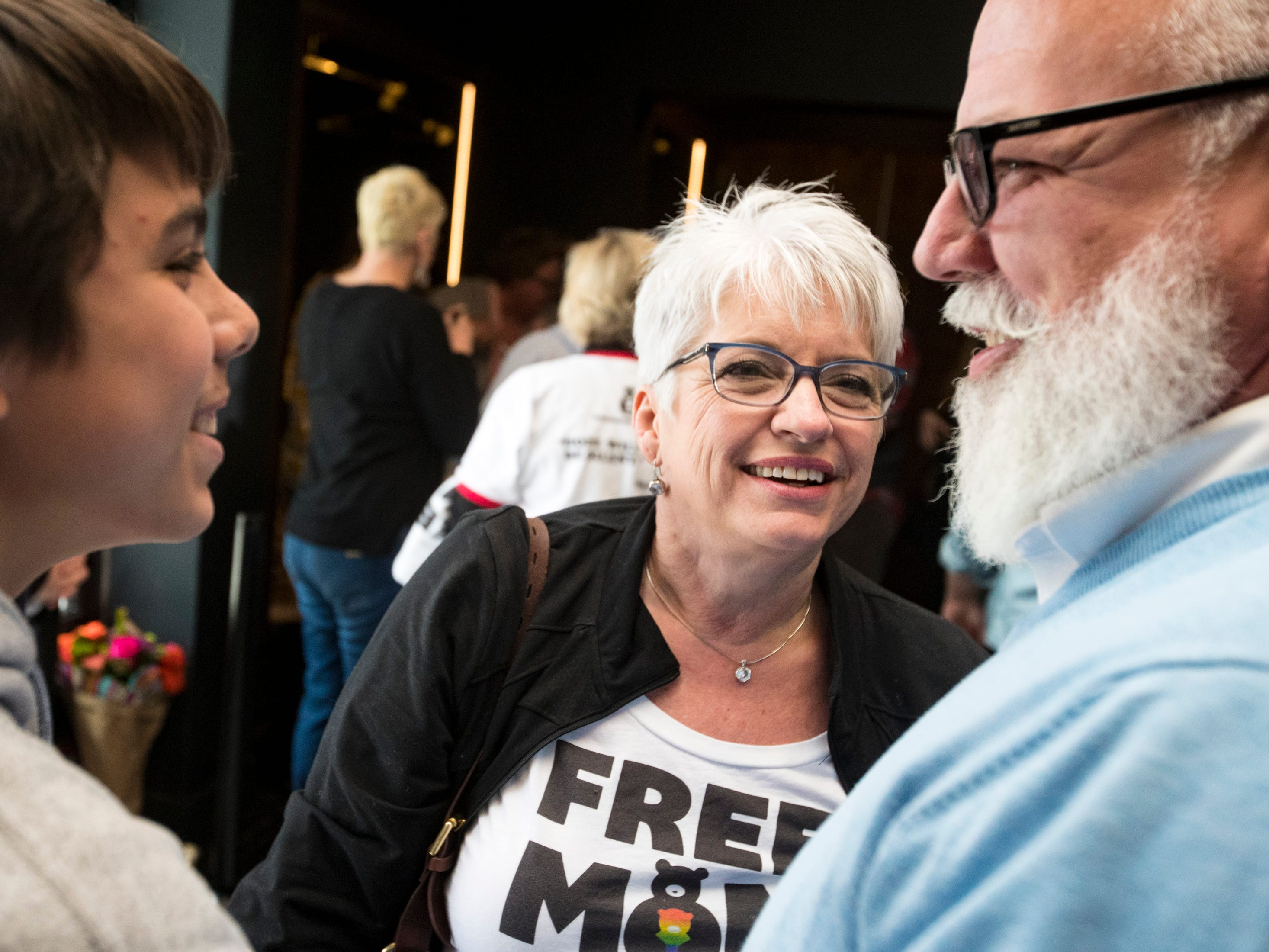 Kelly Holiday speaks to Butch Wright and Landy Wright, 14, after Sara Cunningham spoke at GracePointe Church in Nashville on Sunday, March 31, 2019. Cunningham spoke about her journey to accepting her son as a gay man while keeping her faith.
