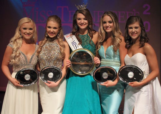Left to right:  Amanda Simmons, Chloe Warren, Taylor Parsons, Annalee Story, and Kinsley Burkett at the Miss Tennessee's Outstanding Teen Pageant in Gallatin, TN on Saturday, March 30, 2019.