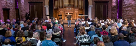 Sara Cunningham speaks at GracePointe Church in Nashville on Sunday, March 31, 2019. Cunningham spoke about her journey to accepting her son as a gay man while keeping her faith.