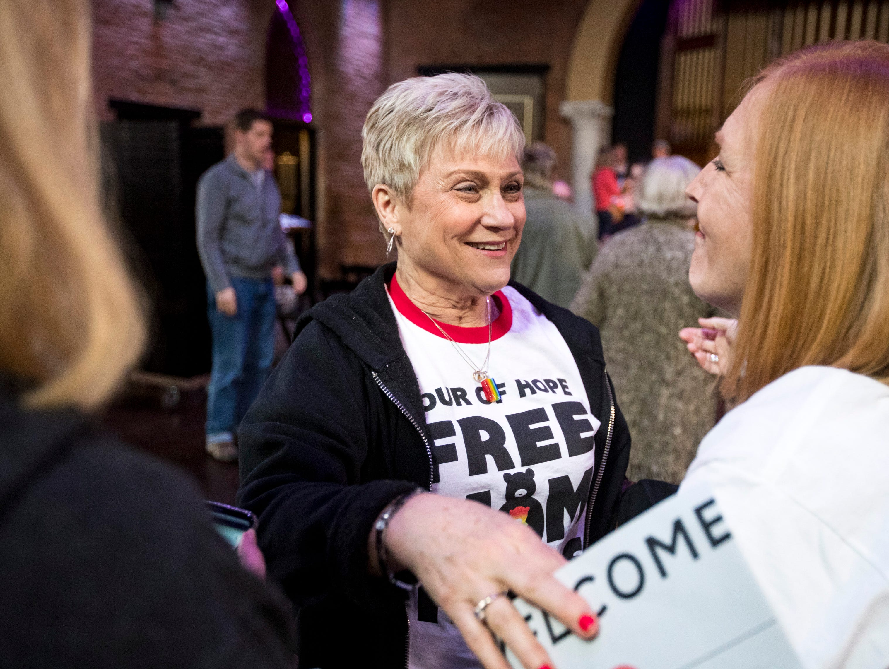 "Cathy Pattat speaks with other ""mama bears"" after Sara Cunningham spoke at GracePointe Church in Nashville on Sunday, March 31, 2019. Cunningham spoke about her journey to accepting her son as a gay man while keeping her faith."