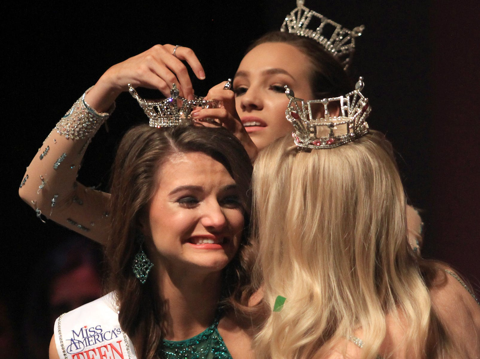Taylor Parsons gets her crown after winning the Miss Tennessee;s Outstanding Teen in Gallatin, TN on Saturday, March 30, 2019.