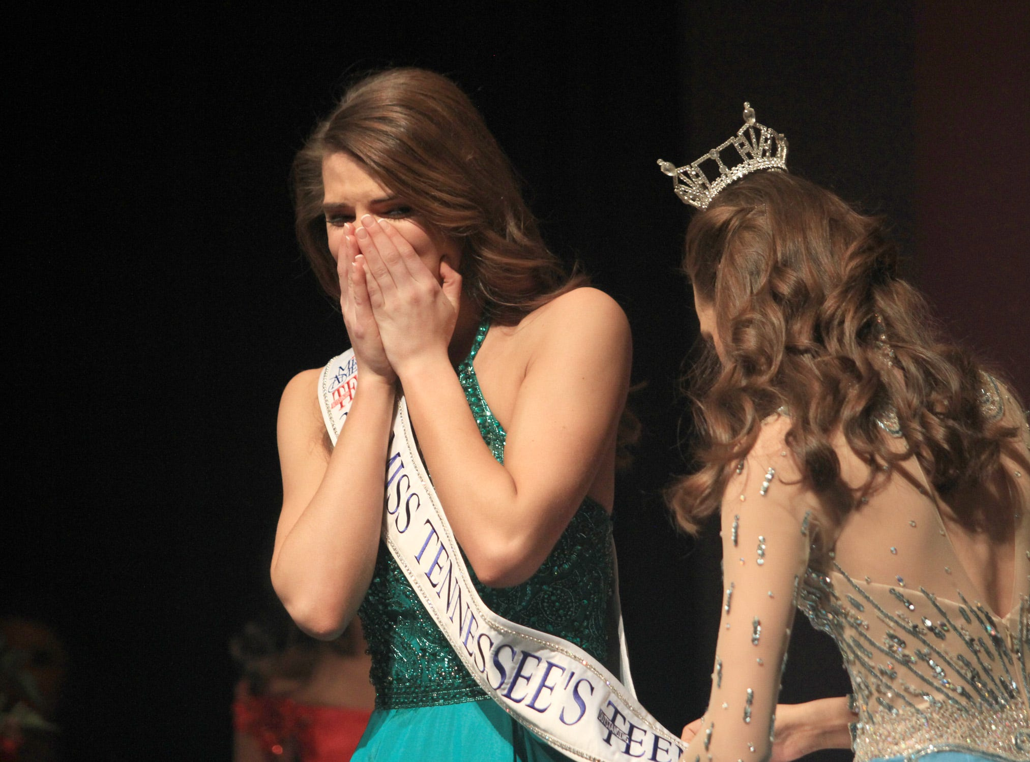 Taylor Parsons gets her sash put on after becoming Miss Tennessee's Outstanding Teen 2019 in Gallain,TN on Saturday, March 30, 2019.