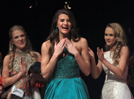 Taylor Parsons reacts to hearing her name called as Miss Tennessee's Outstanding Teen in Gallatin, TN on Saturday, March 30. 2019.
