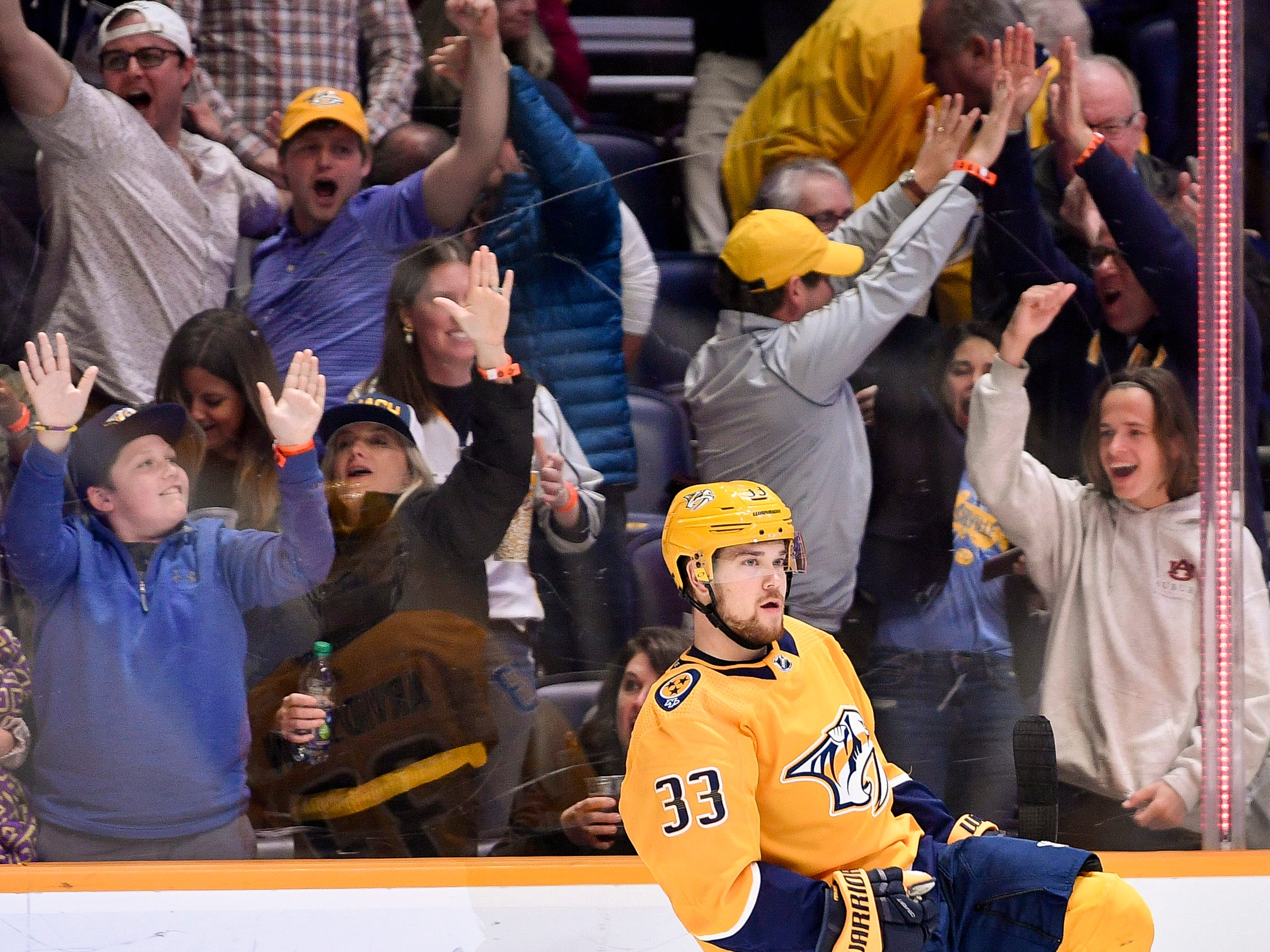Nashville Predators right wing Viktor Arvidsson (33) reacts to scoring a goal against the Columbus Blue Jackets during the first period at Bridgestone Arena in Nashville, Tenn., Saturday, March 30, 2019.