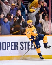 Predators right wing Viktor Arvidsson (33) celebrates after scoring against the Blue Jackets on March 30.