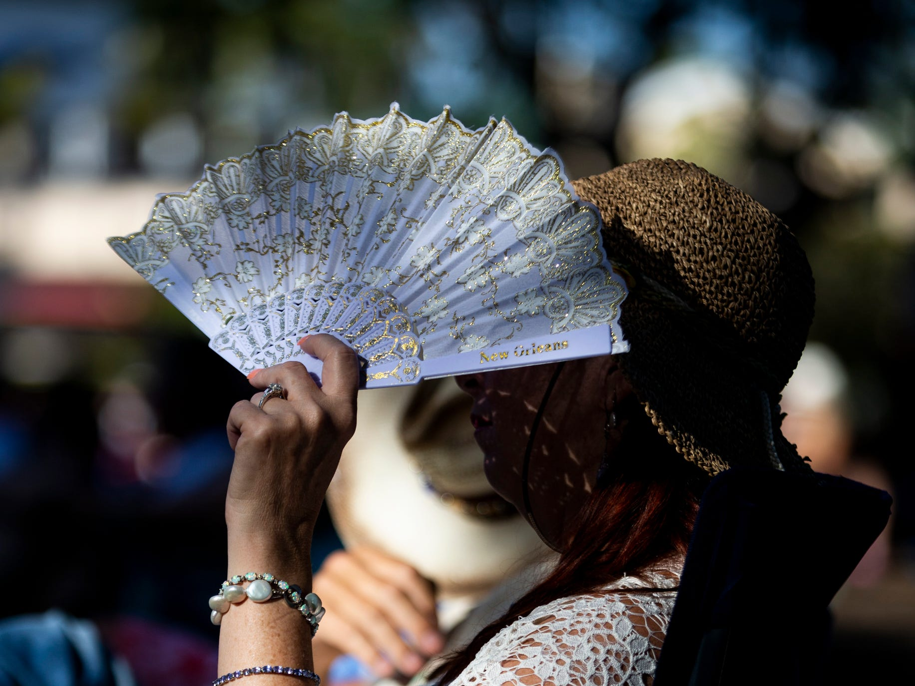 Karie Sams shields her face from the sun with a fan during the first annual Blues for the Blue, a benefit concert raising funds for The Fallen Officers and The Robert L. Zore Foundation, at Cambier Park in Naples on Sunday, March 31, 2019.