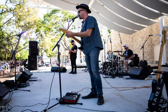 Little Eddie and the Fat Fingers perform during the first annual Blues for the Blue, a benefit concert raising funds for The Fallen Officers and The Robert L. Zore Foundation, at Cambier Park in Naples on Sunday, March 31, 2019.
