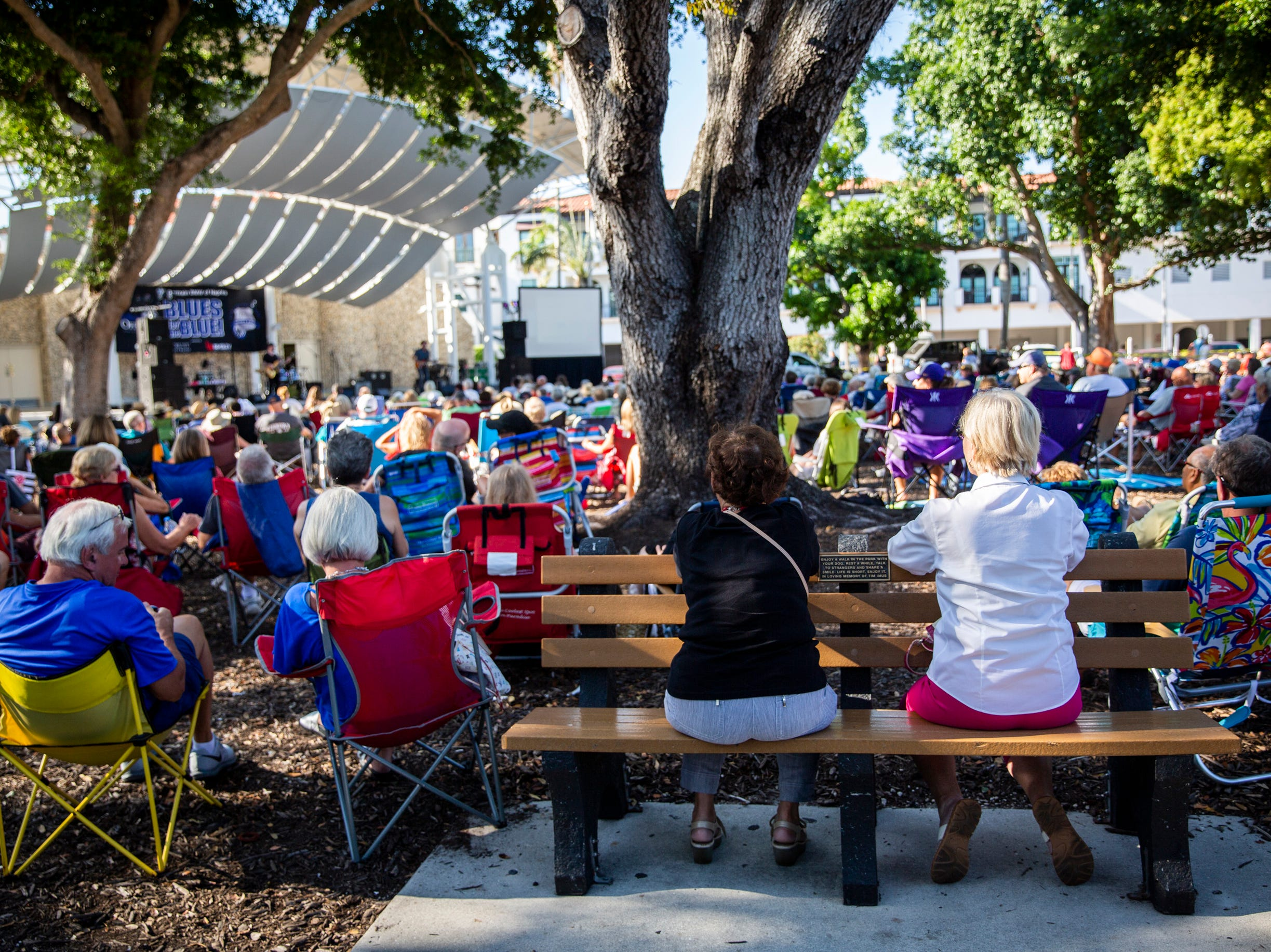 Folding chairs fill Cambier Park during the first annual Blues for the Blue, a benefit concert raising funds for The Fallen Officers and The Robert L. Zore Foundation, in Naples on Sunday, March 31, 2019.