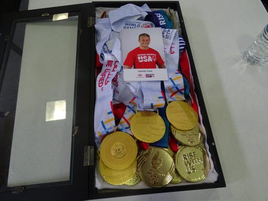 Garrett Ford won four gold medals during the recent Special Olympics World Games.