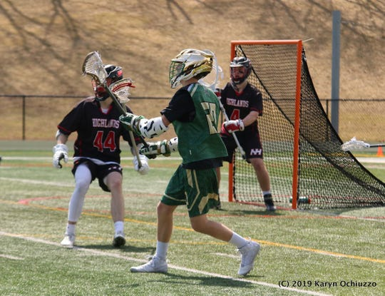Northern Highlands goalie Conor Breen (4) guards the net during a game in Montvale on March 30, 2019.