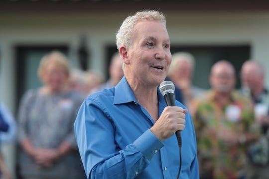 Palm Springs City Councilmember Geoff Kors speaks at the campaign kickoff event for his district election, Palm Springs, Calif., March 30, 2019.