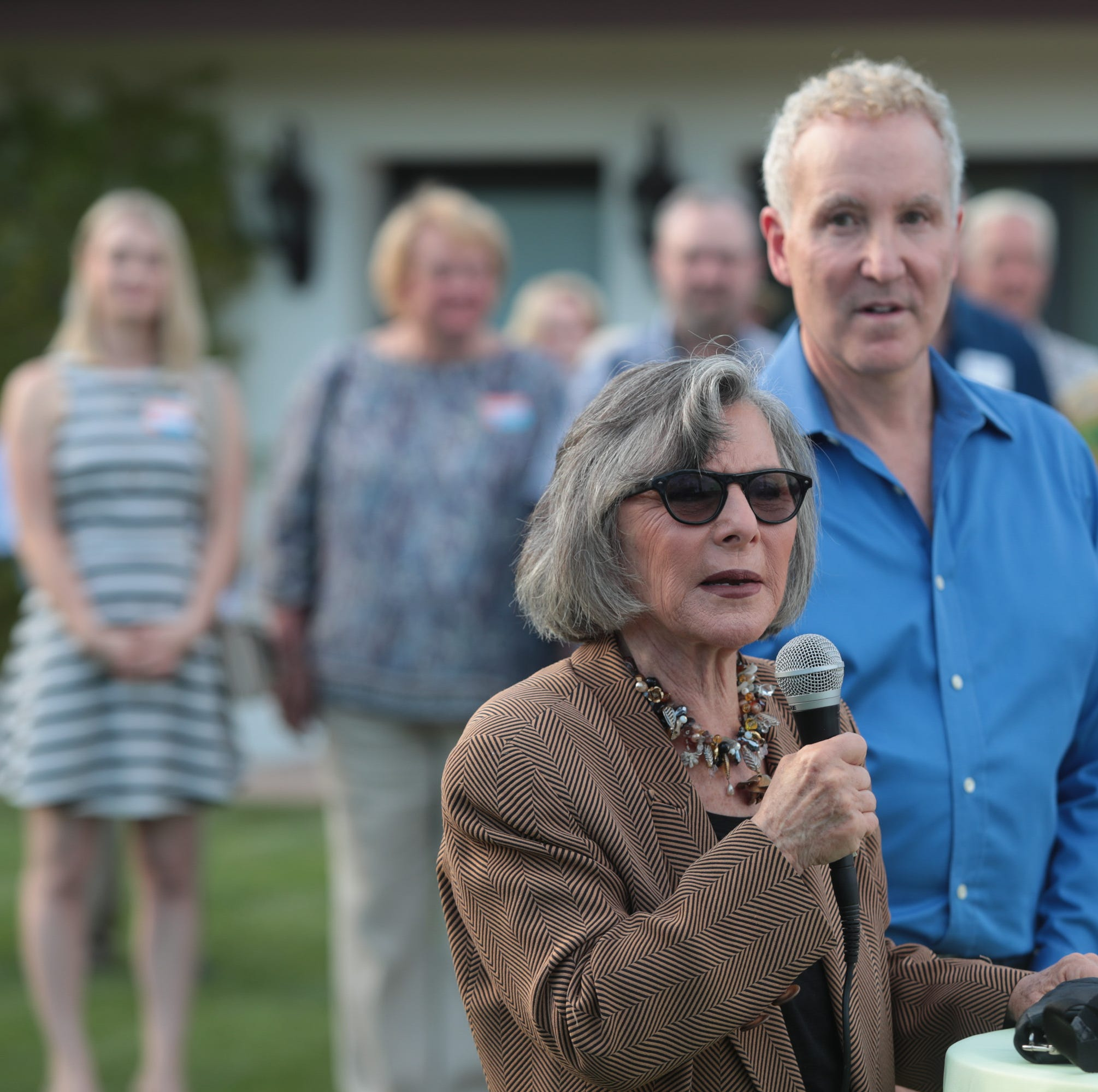 Palm Springs Councilman Geoff Kors welcomes Barbara Boxer at campaign kick-off event