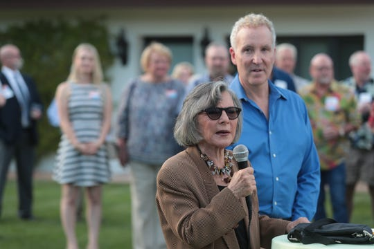 Former U.S. Senator Barbara Boxer speaks at a campaign kickoff event for Palm Springs City Councilmember Geoff Kors, Palm Springs, Calif., March 30, 2019.