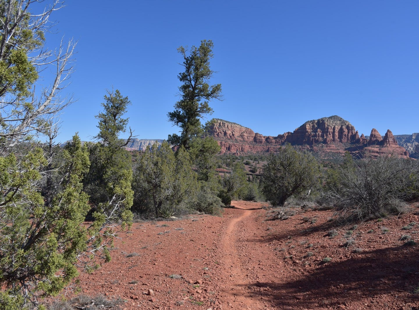 The Two Nuns rock formation (far right) seen from the HT Trail.