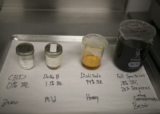 Various marijuana concentrates and oils used by the Flourish kitchen sit on a counter at the Harvest facility lab in Bellemont, Ariz. on Jan. 15, 2019. Curry's cannabis cuisine company Flourish specializes in quality ingredients and affordable prices for medicated food. The oils are worth thousands of dollars.