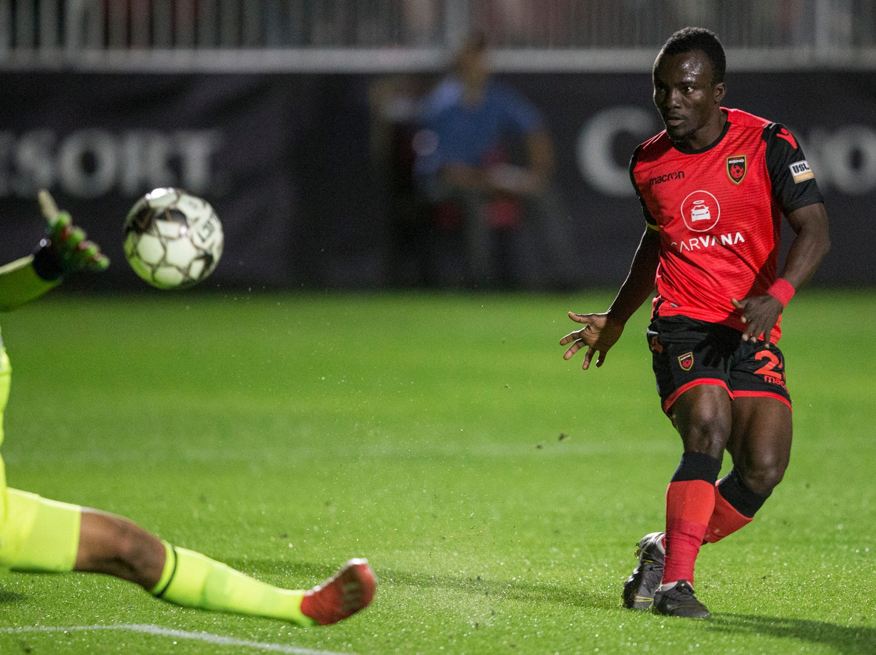 Phoenix Rising's Solomon Asante misses a shot against Colorado Springs in the first half on Saturday, Mar. 30, 2019, at Casino Arizona Field in Tempe, Ariz.