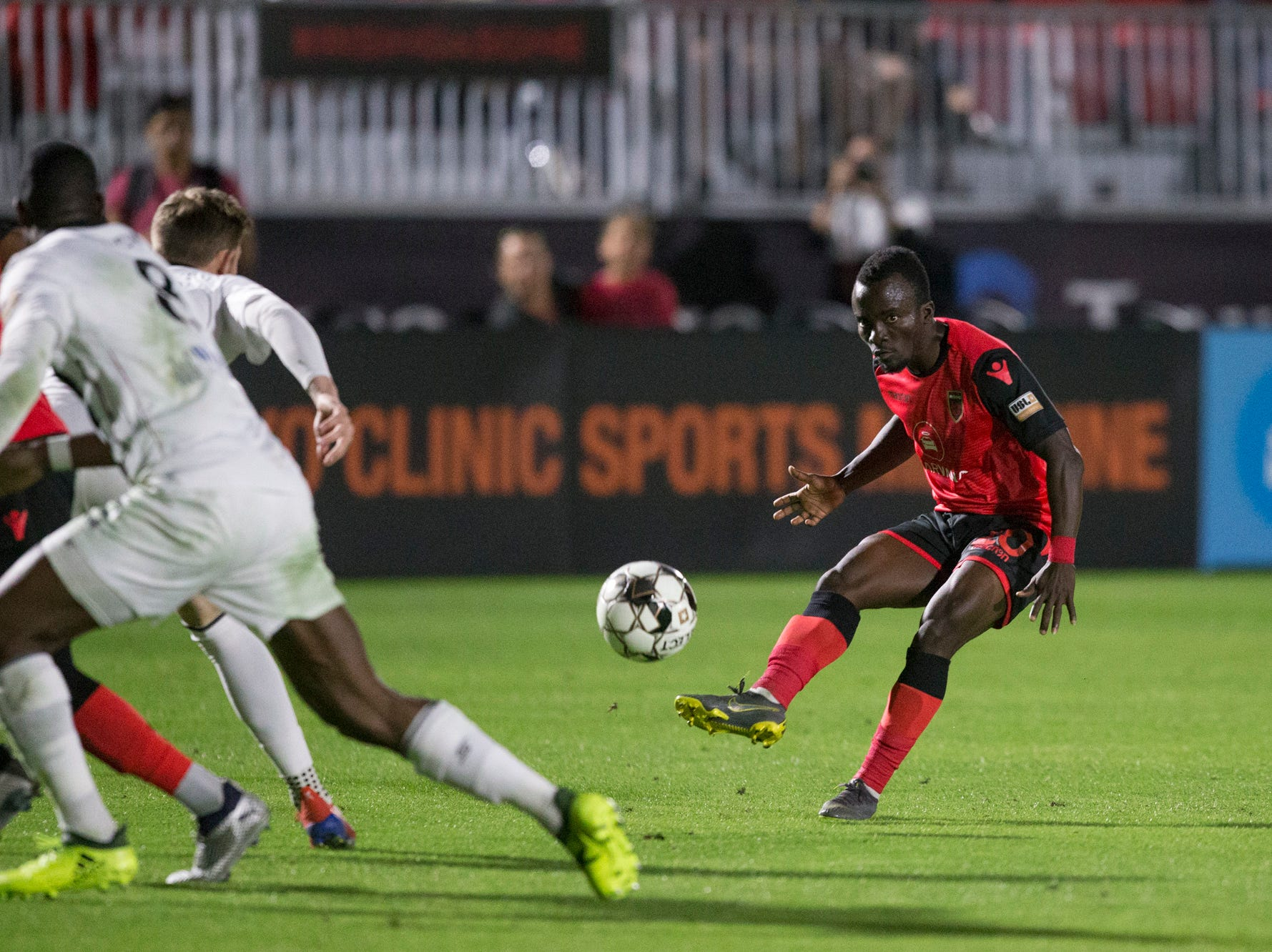 Phoenix Rising's Solomon Asante attempts a shot against Colorado Springs in the second half on Saturday, Mar. 30, 2019, at Casino Arizona Field in Tempe, Ariz.
