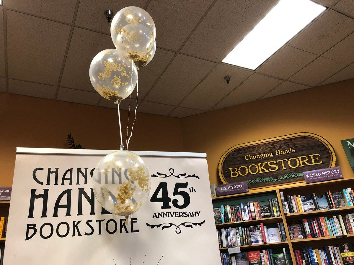 Changing Hands bookstore celebrated its 45th anniversary March 30, 2019, at its location in Tempe.