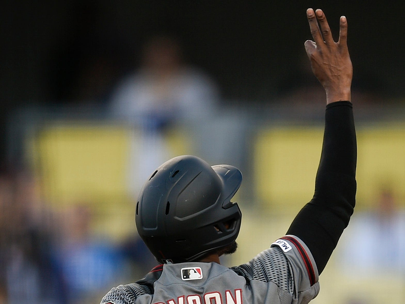 Mar 30, 2019; Los Angeles, CA, USA; Arizona Diamondbacks center fielder Jarrod Dyson (1) celebrates after a solo home run during the first inning against the Los Angeles Dodgers at Dodger Stadium. Mandatory Credit: Kelvin Kuo-USA TODAY Sports