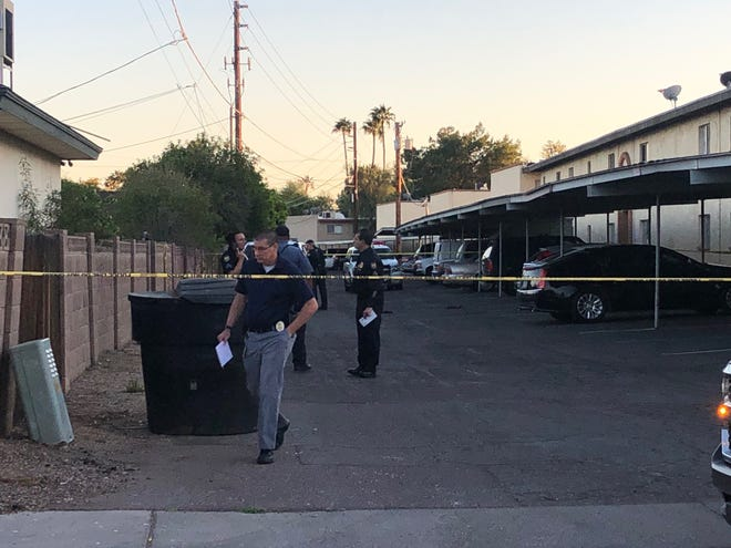 Phoenix police investigate a stabbing near 17th Avenue and Ocotillo Road in Phoenix on March 30, 2019.