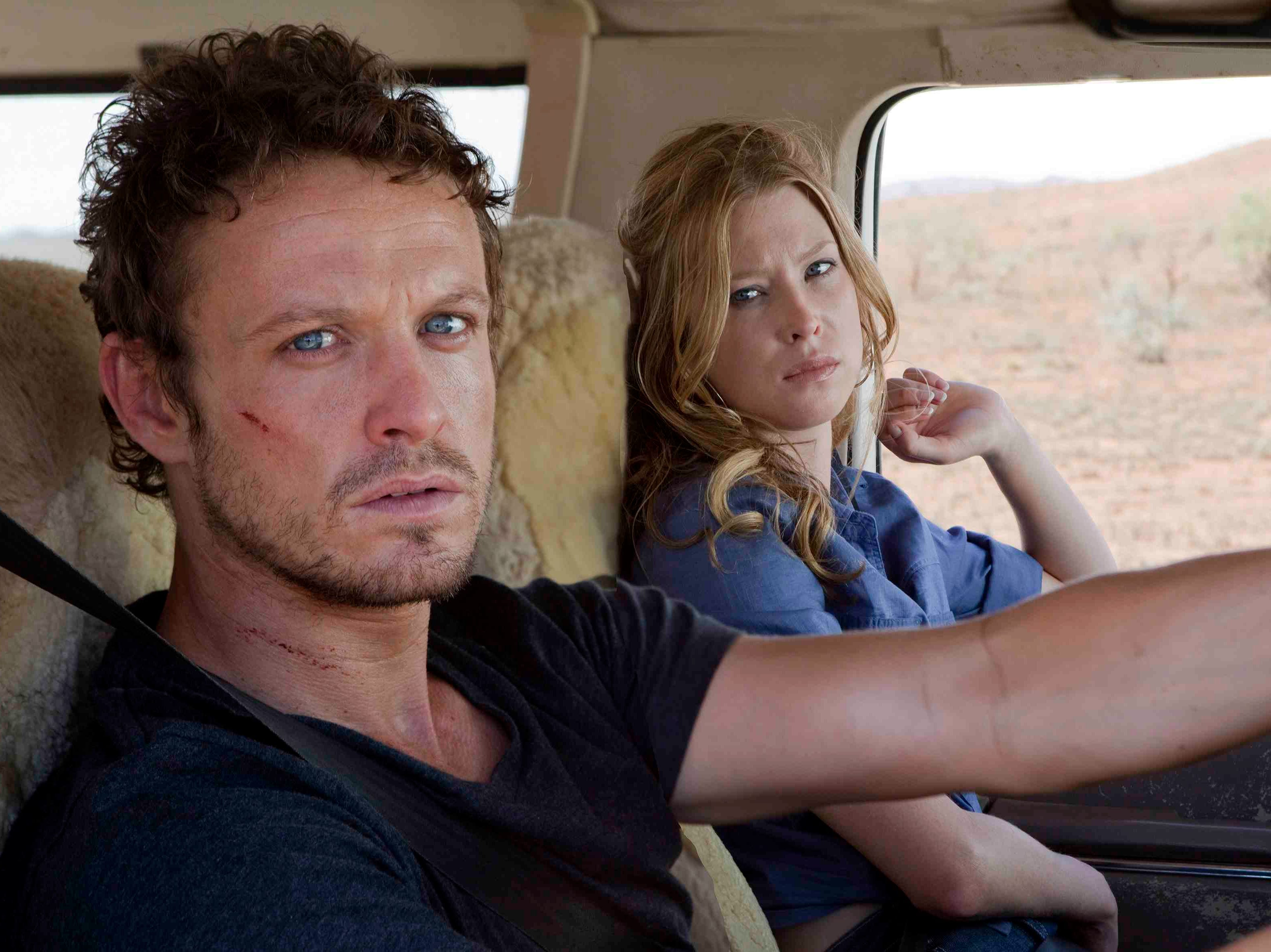 "Jason Clarke and Emma Booth star in ""Swerve"" (2011)."
