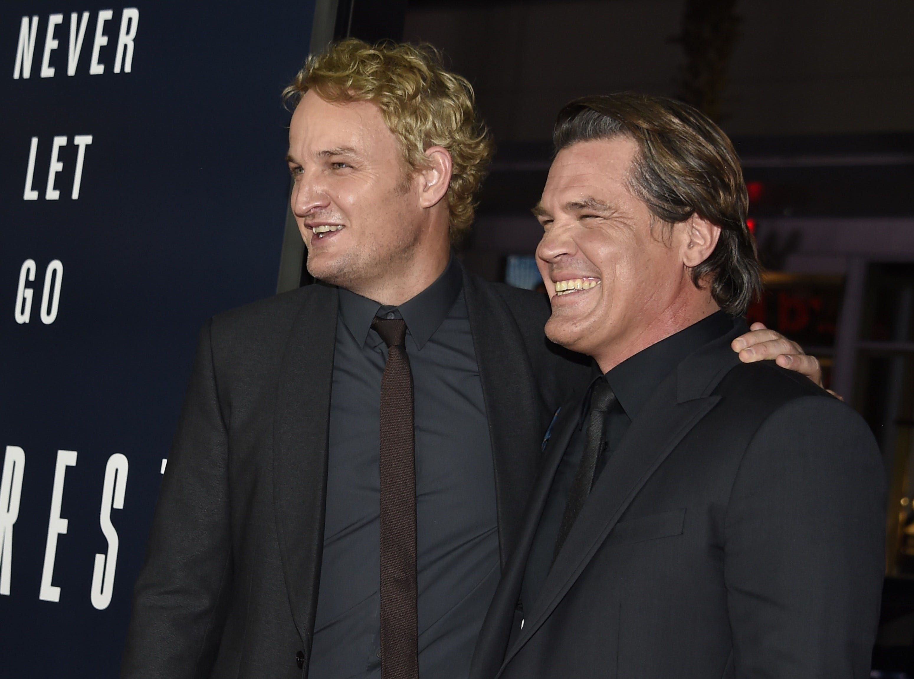 "Jason Clarke (left) and Josh Brolin attend the premiere of ""Everest""  on Sept. 9, 2015, in Hollywood, California."