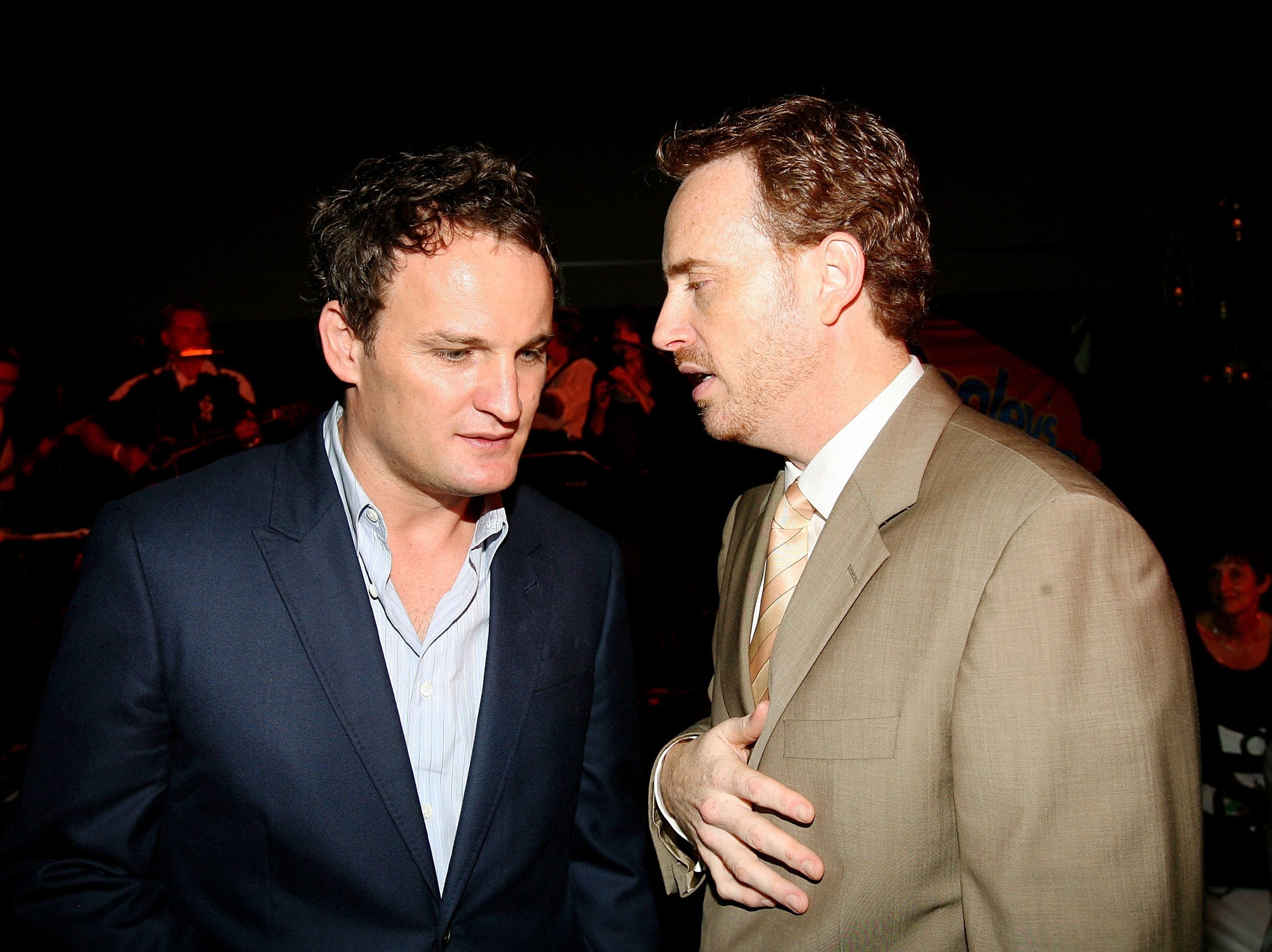 "Jason Clarke (left) and Robert Greenblatt, Showtime president of entertainment, attend the after party for the screening of Showtime's ""The Brotherhood"" on June 21, 2006, in Los Angeles."