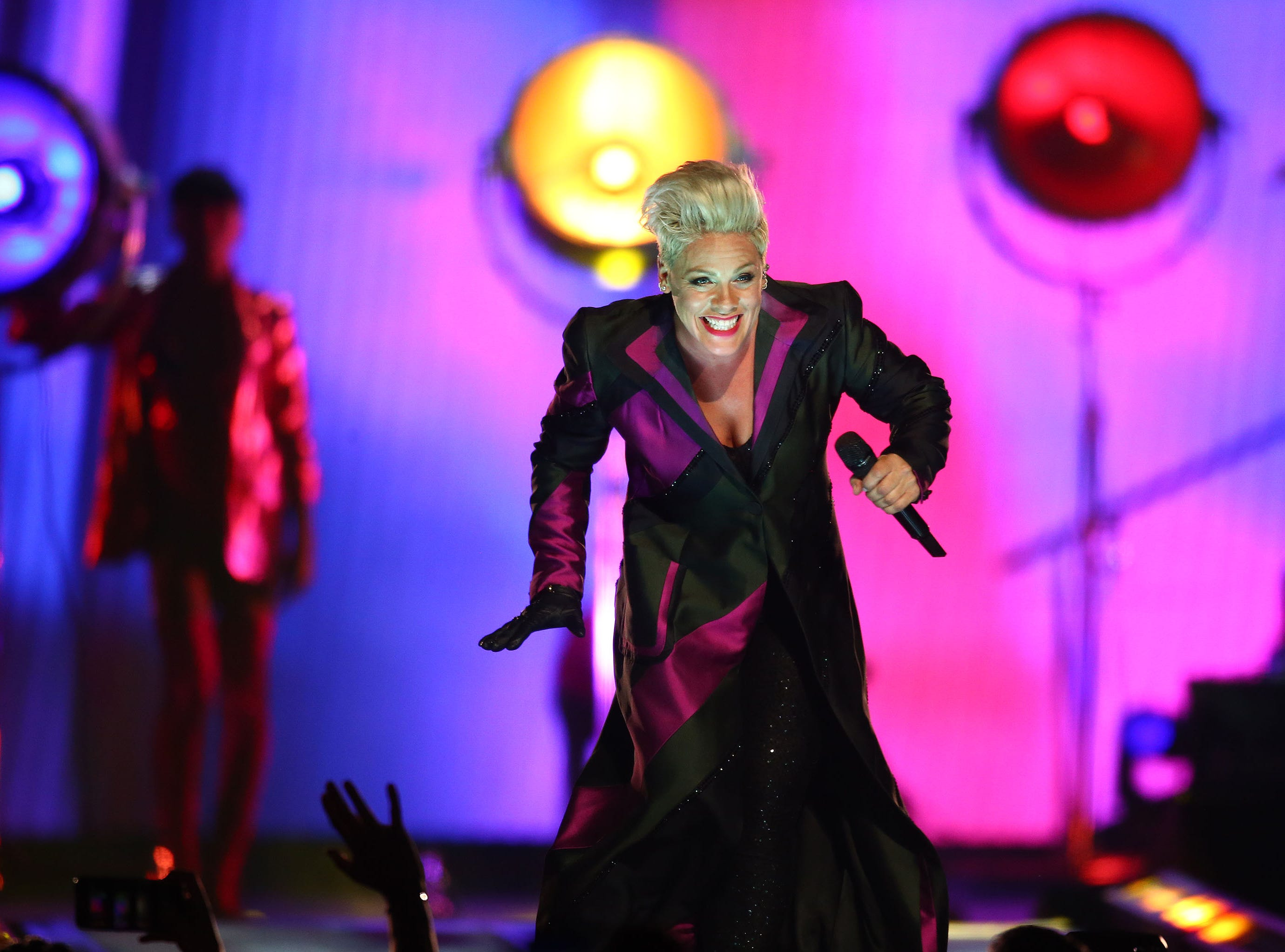 Pink performs during her Beautiful Trauma Tour on March 30, 2019, at Gila River Arena in Glendale.