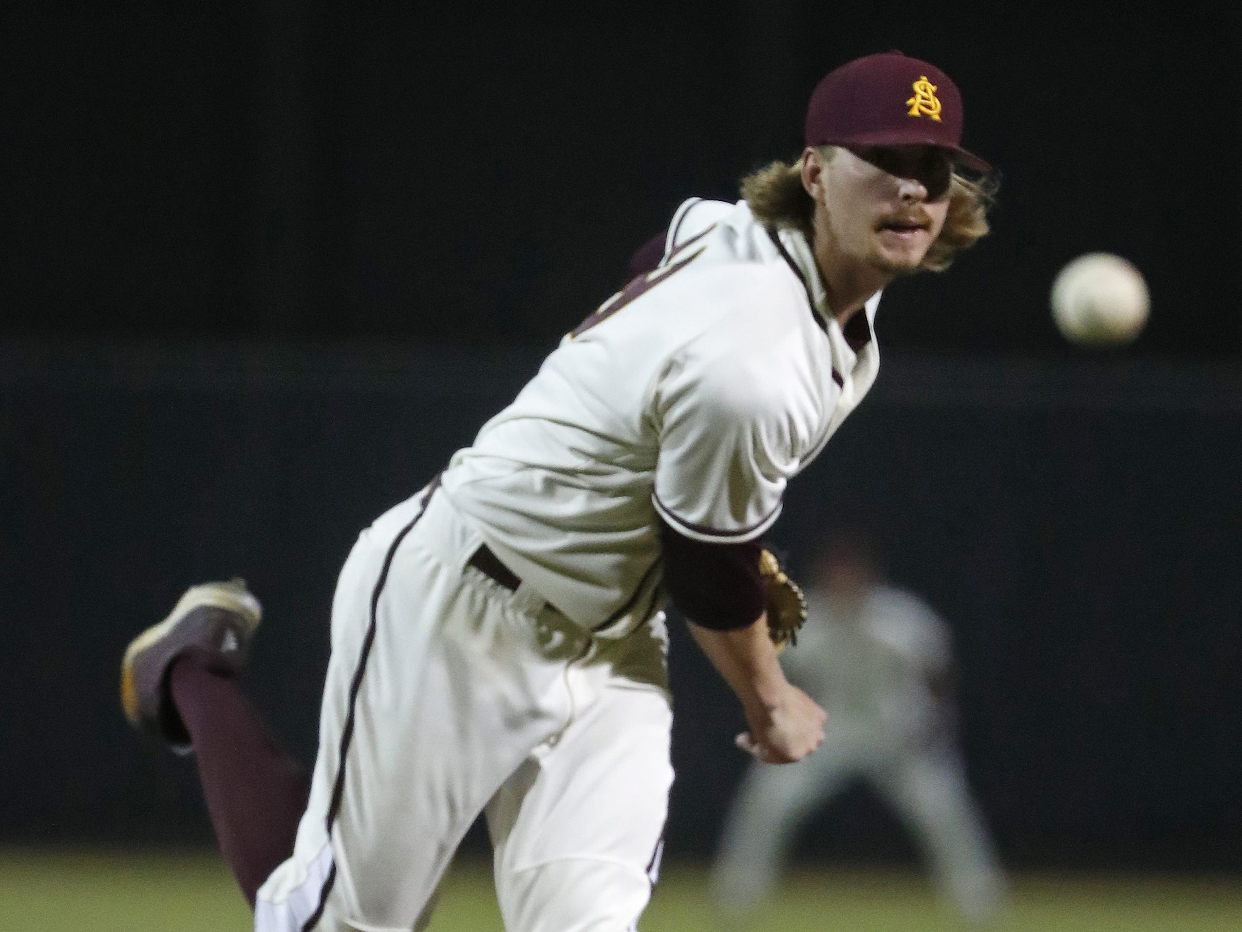ASU's Boyd Vader Kooi (19) pitches against Arizona's Austin Wells during the first inning at Phoenix Municipal Stadium in Phoenix, Ariz. on March 30, 2019.