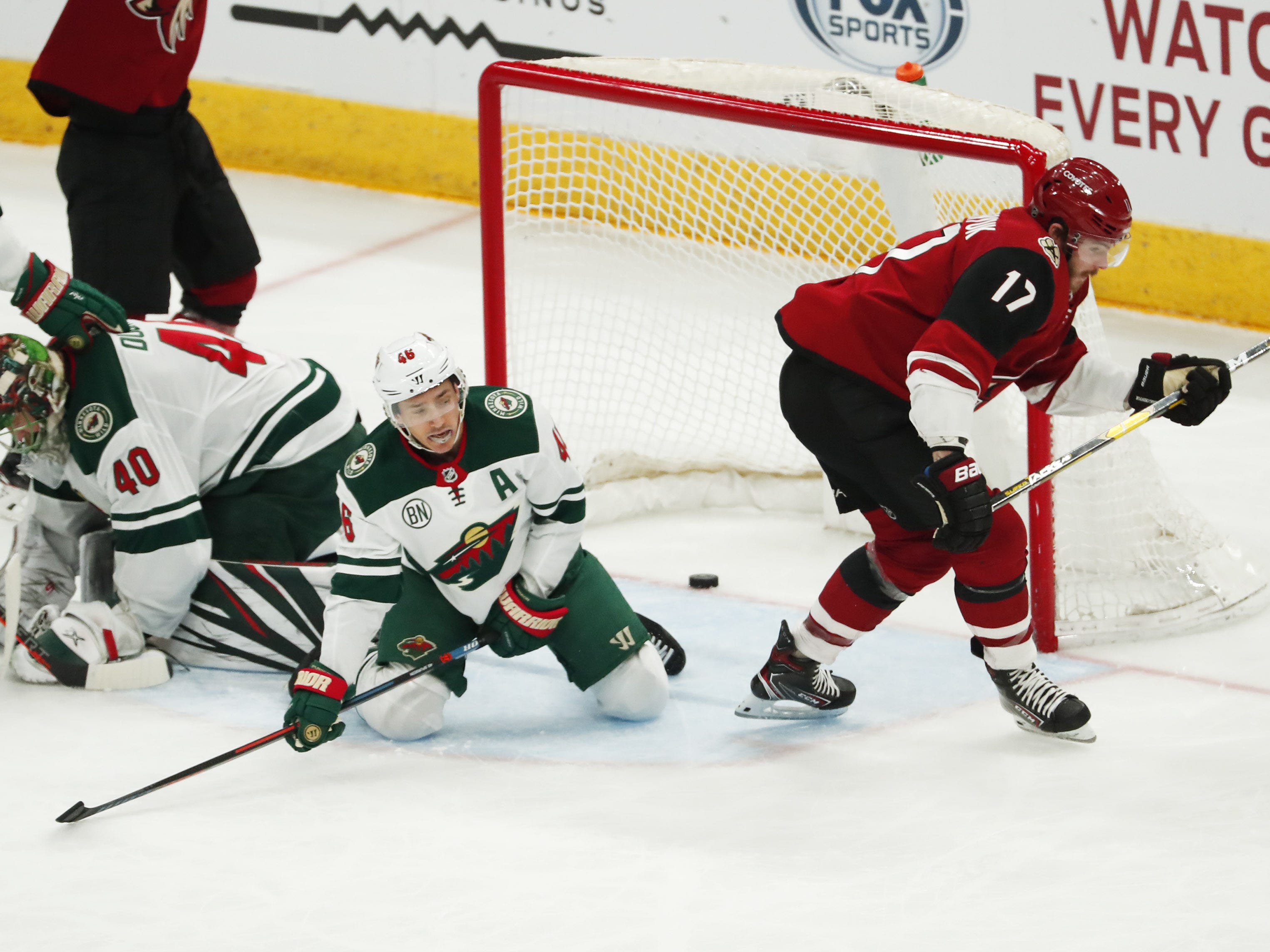 Arizona Coyotes center Alex Galchenyuk (17) scores against the Minnesota Wild during the first period in Glendale March 31, 2019.