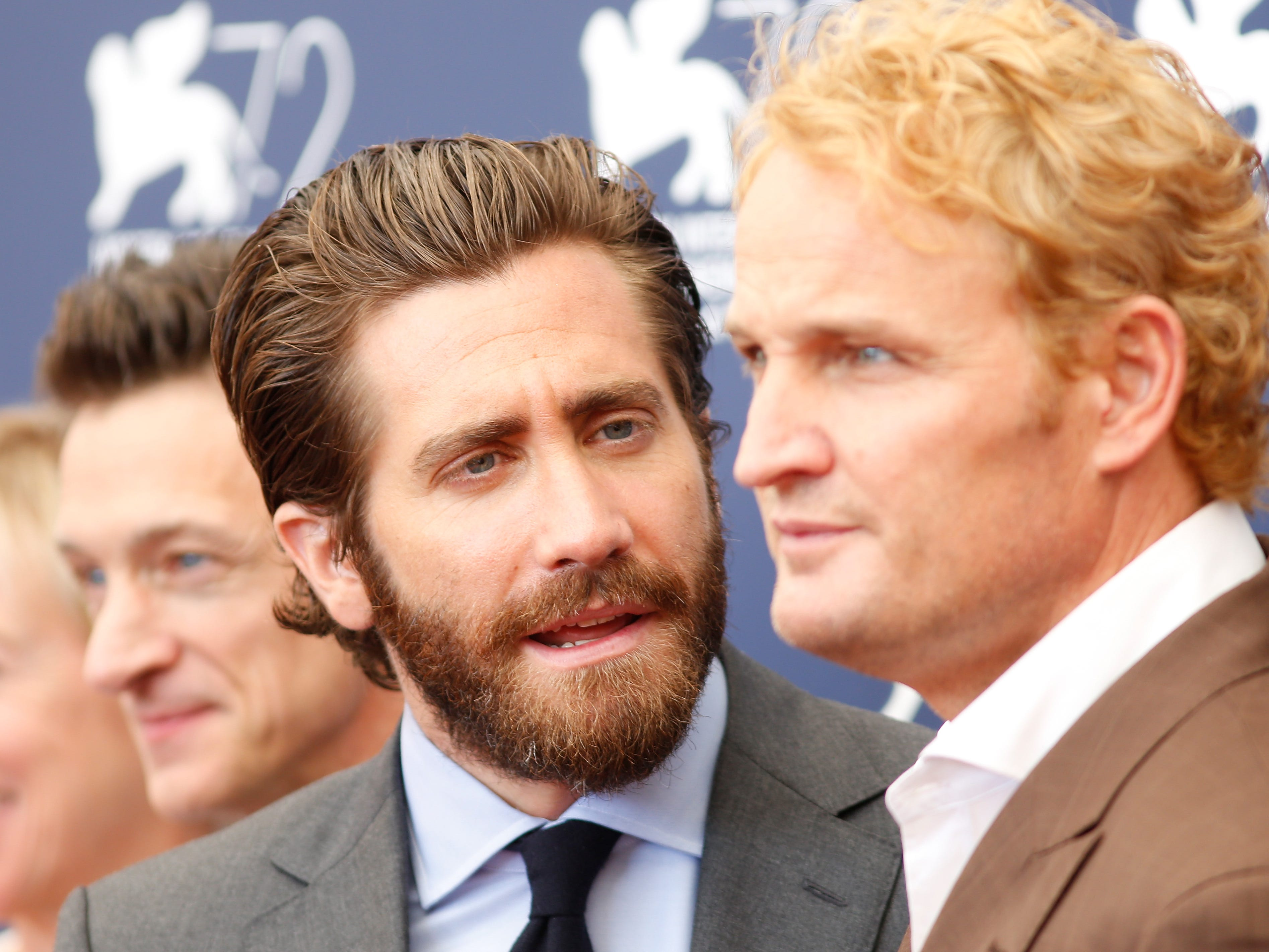 "Jake Gyllenhaal (left) and Jason Clarke talk during an ""Everest"" promotional event on Sept. 2, 2015, in Venice."