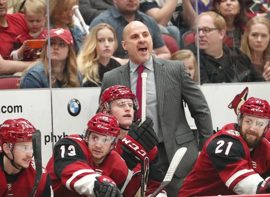Arizona Coyotes head coach Rick Tocchet argues for a penalty call against the Minnesota Wild during the second period in Glendale March 31, 2019.