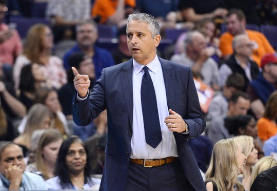 Mar 30, 2019; Phoenix, AZ, USA; Phoenix Suns head coach Igor Kokoskov reacts against the Memphis Grizzlies during the first half at Talking Stick Resort Arena. Mandatory Credit: Joe Camporeale-USA TODAY Sports