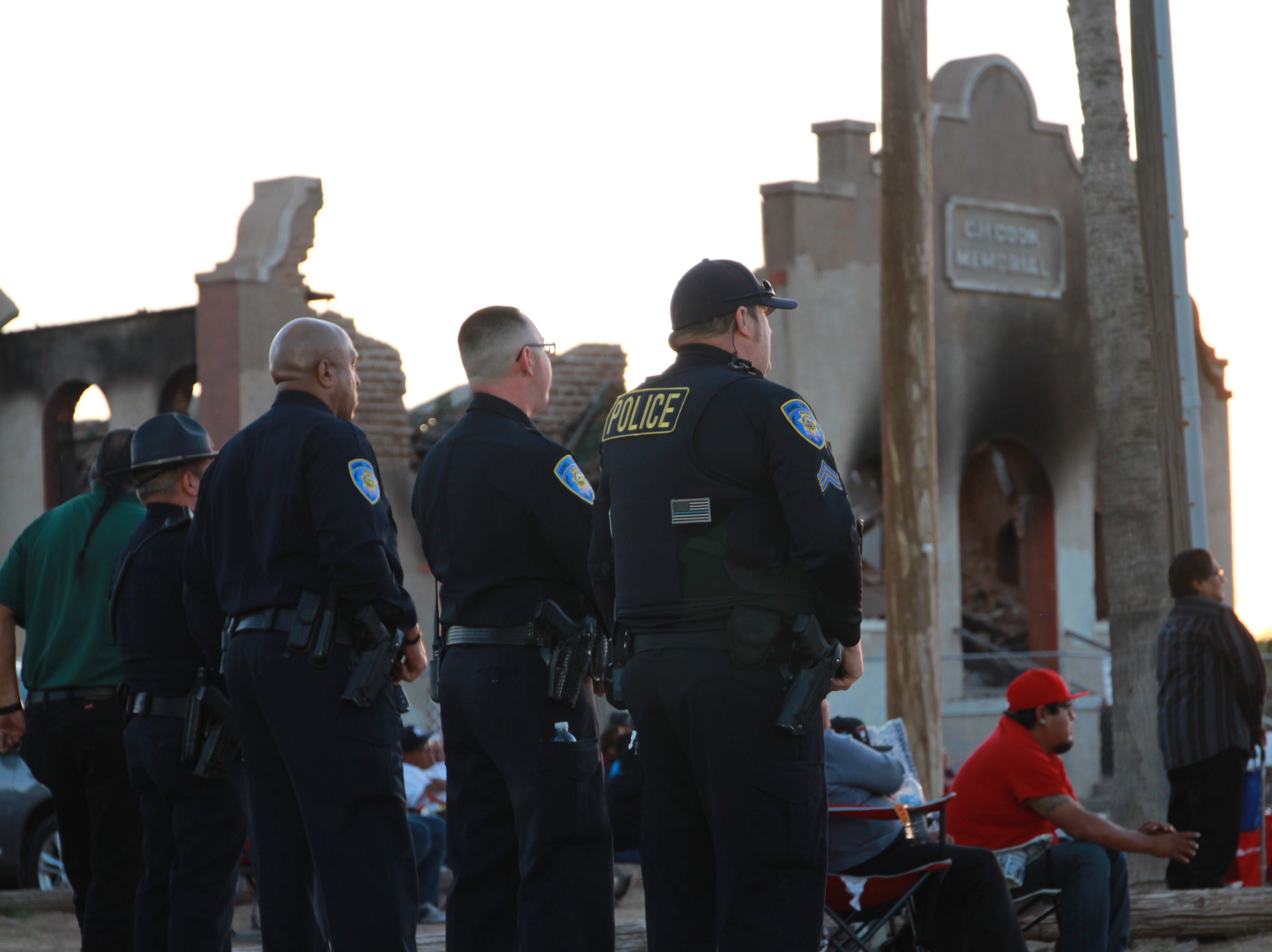 Policemen from the Gila River Police Department attended the prayer vigil.