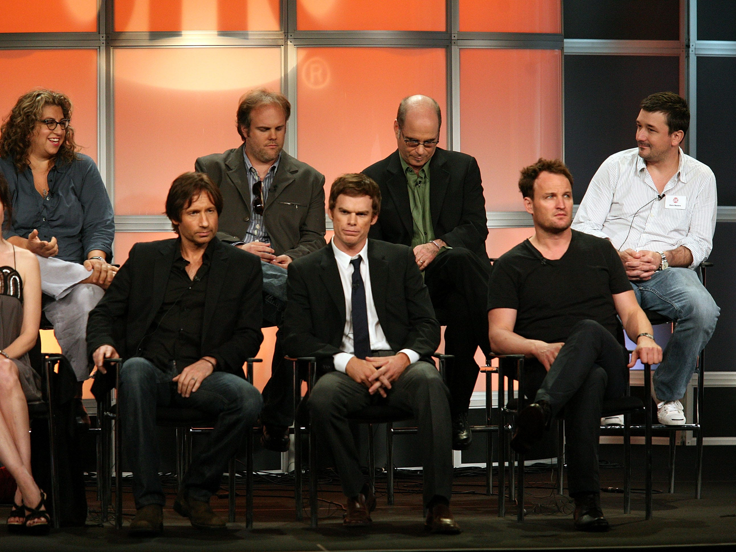 "Jason Clarke (bottom right) does the promotional thing for ""The Brotherhood"" on July 18, 2008, in Beverly Hills. Also pictured: Jenji Kohan (top row, from left), Tom Kapinos, Clyde Phillips and Blake Masters. Bottom row from left: Mary-Louis Parker, David Duchovny, Michael C. Hall and Clarke."