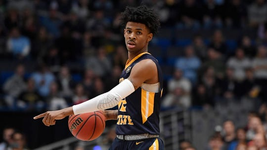 Murray State's Ja Morant (12) during the second half of a second round men's college basketball game in the NCAA tournament, Saturday, March 23, 2019, in Hartford, Conn. (AP Photo/Jessica Hill)