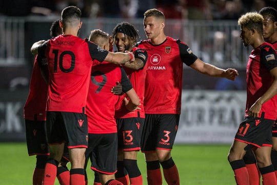 Phoenix Rising celebrates after a goal against Colorado Springs in the second half on Saturday, Mar. 30, 2019, at Casino Arizona Field in Tempe, Ariz.