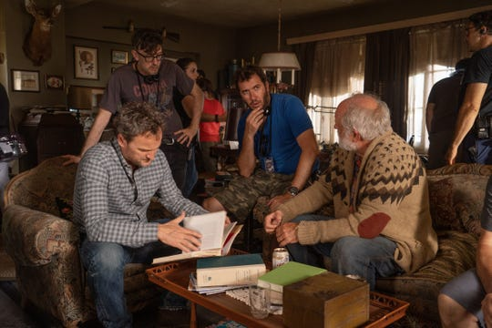 "Jason Clarke (from left) works with ""Pet Sematary"" directors Kevin Kölsch and Dennis Widmyer and co-star John Lithgow."