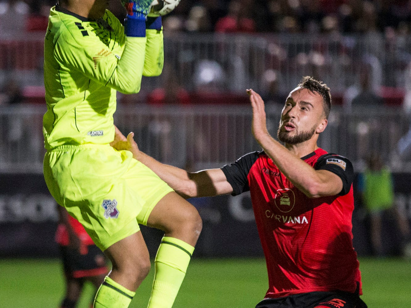 Colorado Springs' Abraham Rodriguez makes a save against Phoenix Rising in the first half on Saturday, Mar. 30, 2019, at Casino Arizona Field in Tempe, Ariz.