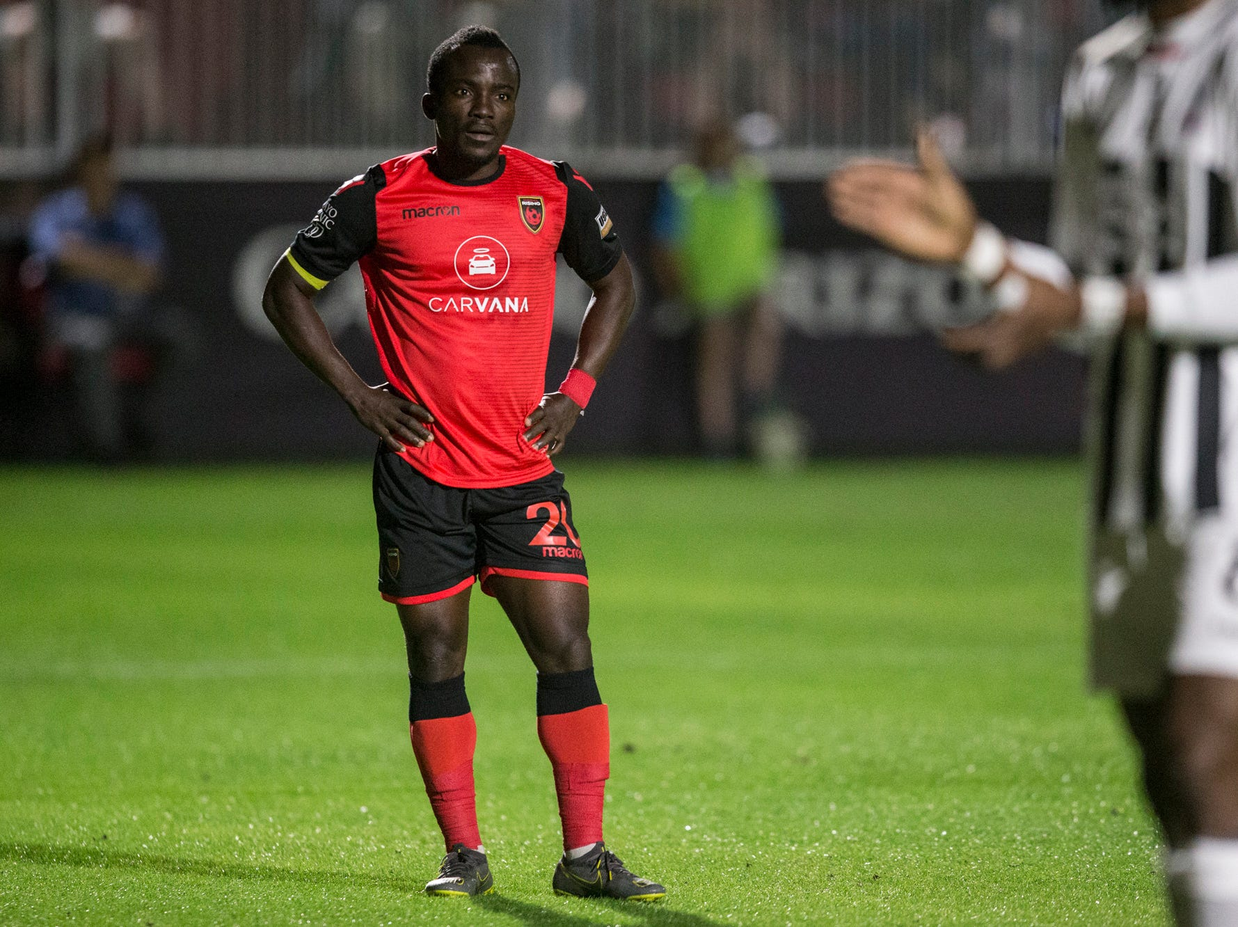 Phoenix Rising's Solomon Asante reacts after missing a shot against Colorado Springs in the first half on Saturday, Mar. 30, 2019, at Casino Arizona Field in Tempe, Ariz.