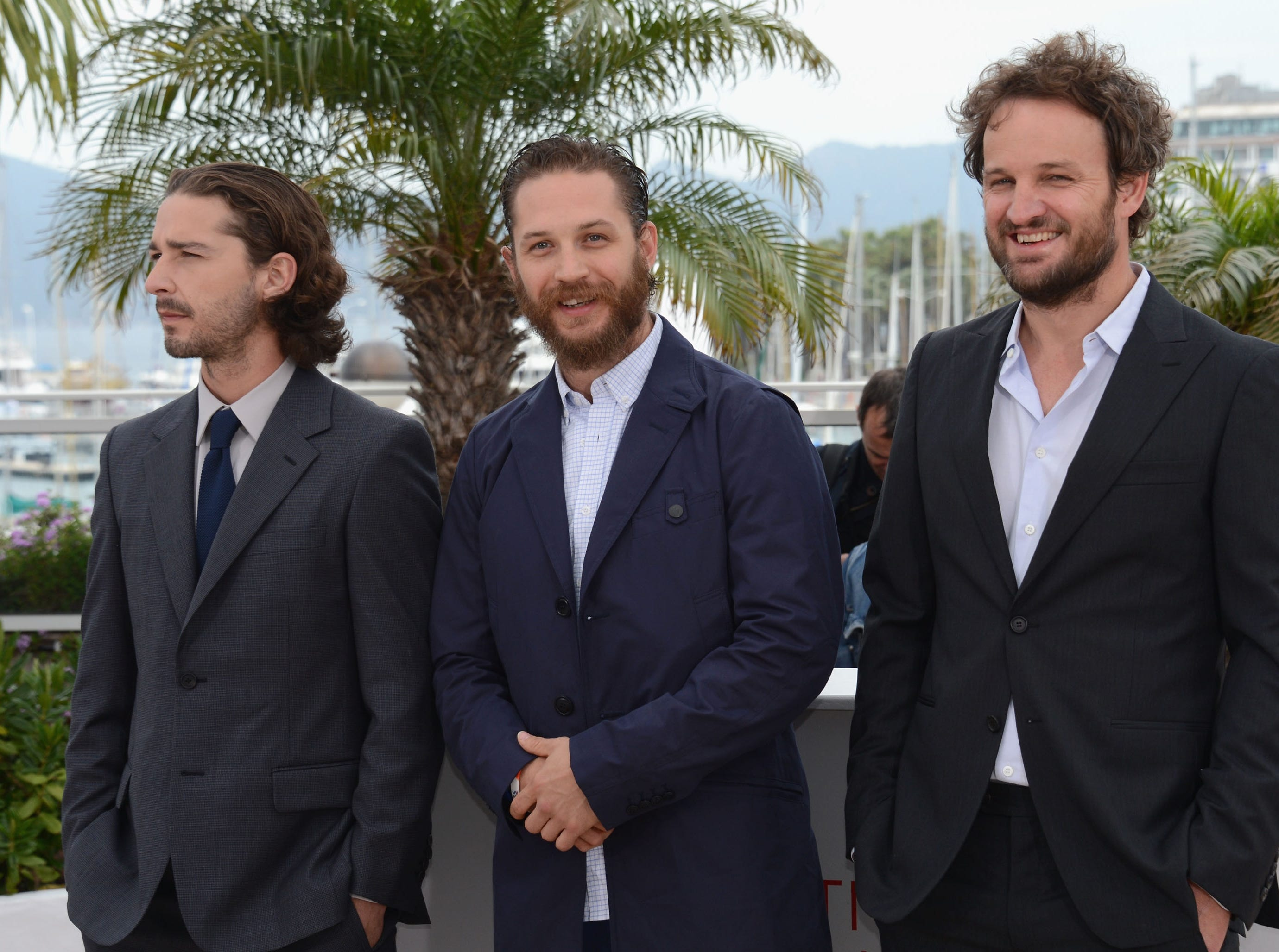 "Shia Labeouf (from left), Tom Hardy and Jason Clarke promote ""Lawless"" during the Cannes Film Festival on May 19, 2012."