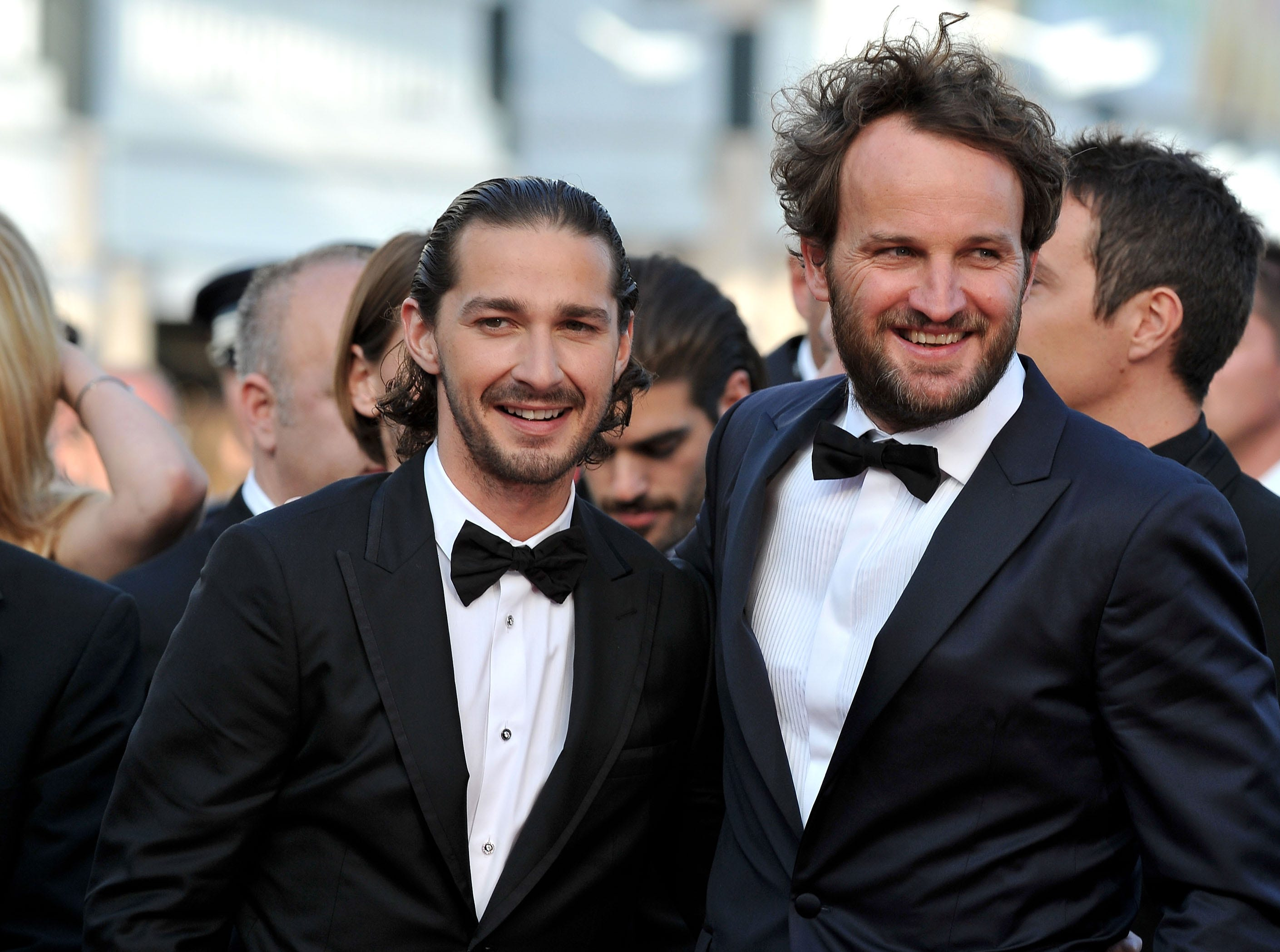 "Shia LaBeouf (left) and Jason Clarke attend the ""Lawless"" premiere during the Cannes Film Festival on May 19, 2012."