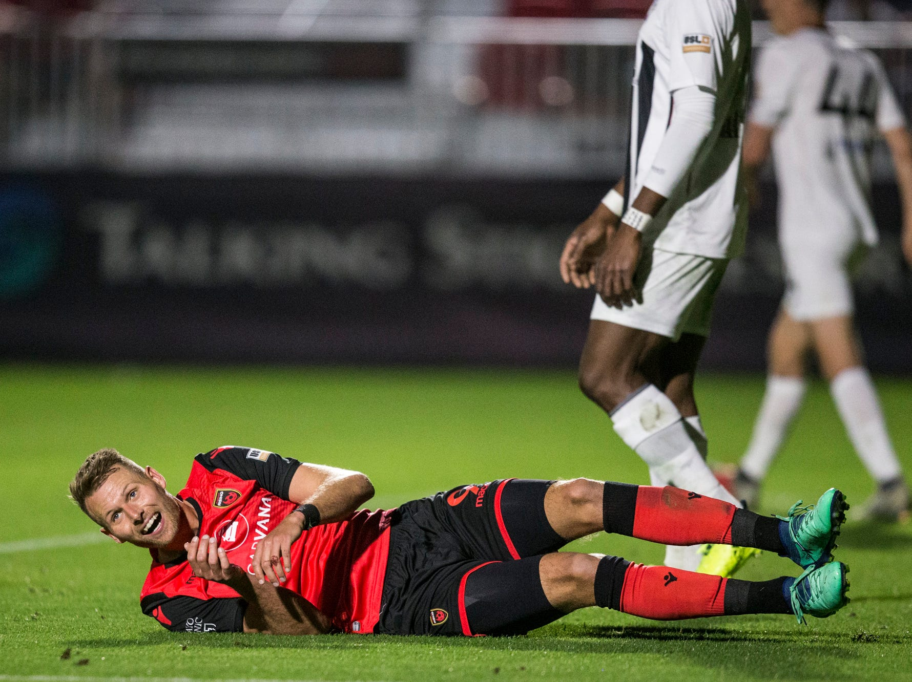 Phoenix Rising's Adam Jahn reacts after missing a shot against Colorado Springs in the second half on Saturday, Mar. 30, 2019, at Casino Arizona Field in Tempe, Ariz.