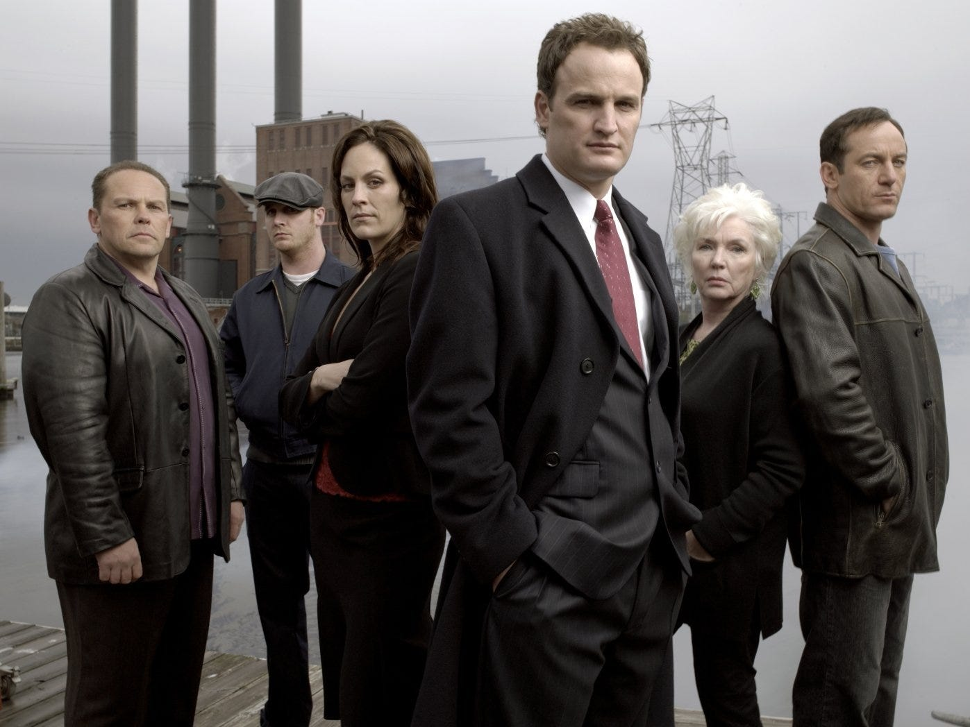 "Jason Clarke heads the cast of ""The Brotherhood,"" which aired on Showtime for three seasons beginning in 2006. The cast includes: Kevin Chapman (from left) Ethan Embry, Annabeth Gish, Clarke, Fionnula Flanagan and Jason Isaacs."