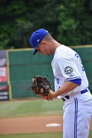 Poughkeepsive native and Toronto Blue Jays baseball prospect Mike Pascoe readies to throw a pitch for the Bluefield Blue Jays last August.