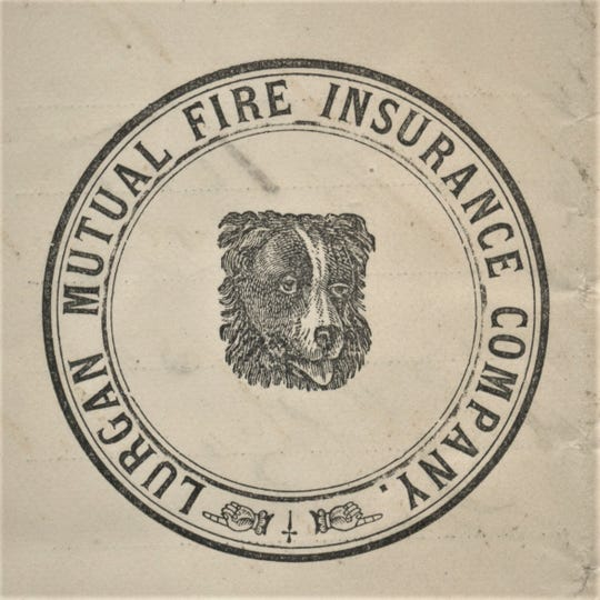 This is an advertisement of the Lurgan Mutual Fire Insurance company in the 1870's