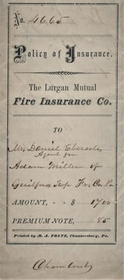 """This is a Policy of Insurance for the Lurgan Mutual Fire Insurance Company printed by M. A. Foltz Chambersburg, the founder of the """"Public Opinion."""""""