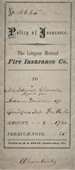 "This is a Policy of Insurance for the Lurgan Mutual Fire Insurance Company printed by M. A. Foltz Chambersburg, the founder of the ""Public Opinion."""