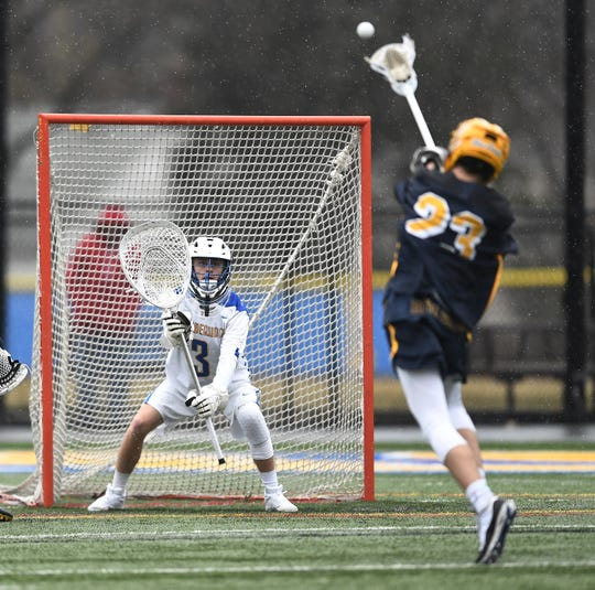 Irondequoit goalie Brett Olney, left, prepares for a shot by Victor's Jack LaRue during a game at Irondequoit High School, Saturday, March 29, 2019. Victor beat Irondequoit 14-9.