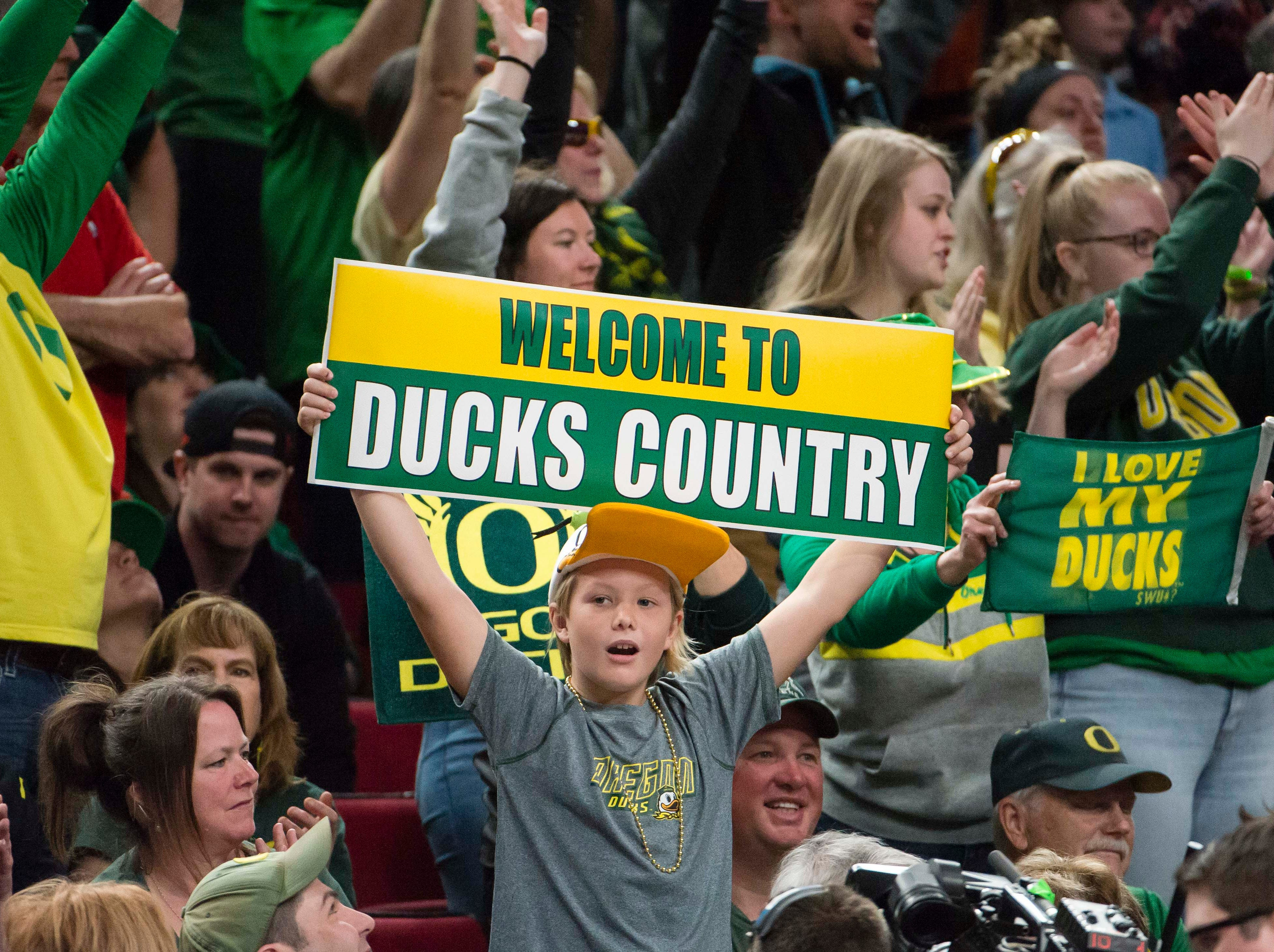 Oregon Ducks fans celebrates during a timeout in the second half agains the Mississippi State Bulldogs in the championship game of the Portland regional in the women's 2019 NCAA Tournament at Moda Center. The Oregon Ducks beat the Mississippi State Bulldogs 88-84.